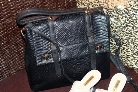 Faux Croc Satchel Bag and Slip-on Sandals by Bata - My Recent Purchases
