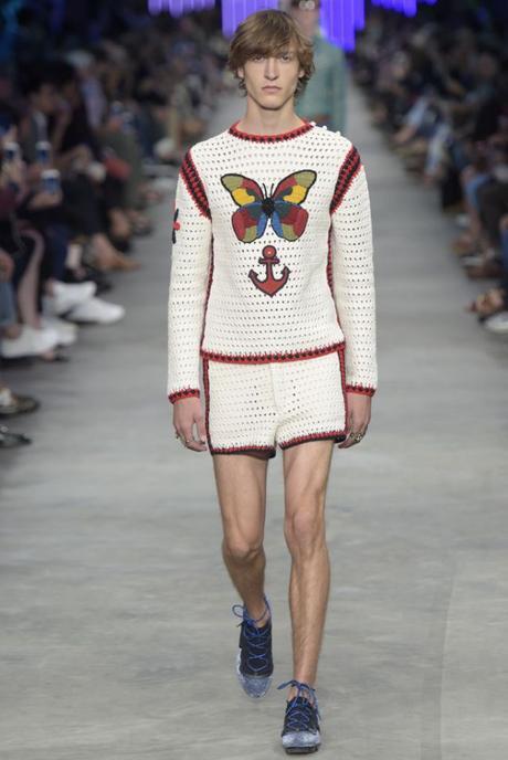 Gucci men's spring 2016 runway. knit shorts