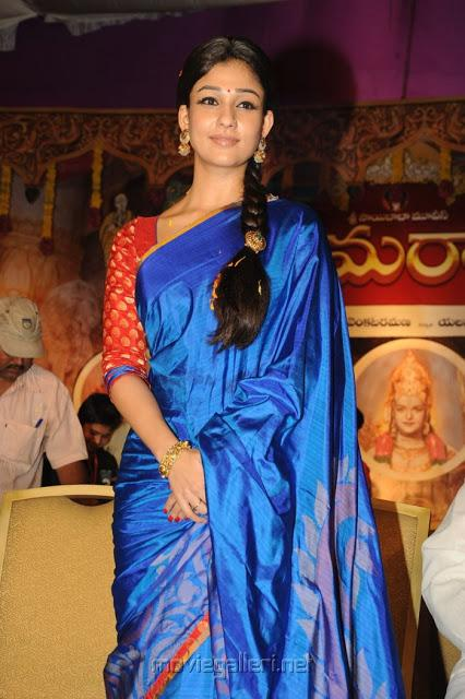 dd56b2d734d89e Nayanthara wearing blue color silk saree with contrast red color blouse