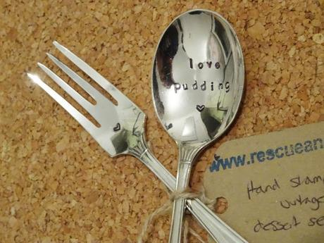 Close up of the personalised fork and spoon