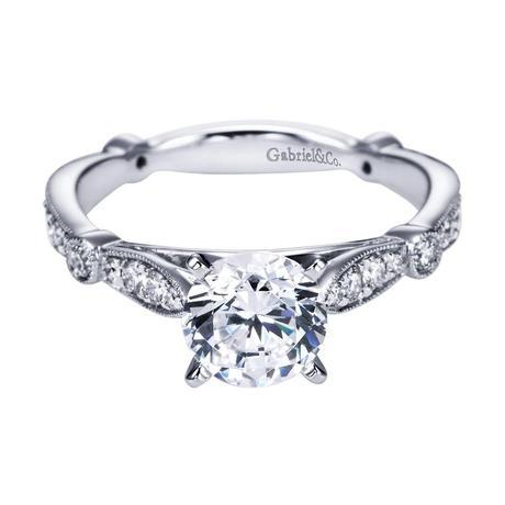 Gabriel NY 14k White Gold Diamond Victorian Straight Engagement Ring