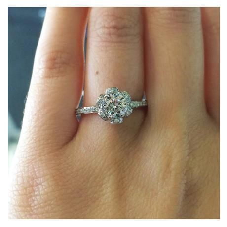 A. Jaffe 14k White Gold Diamond Petal Engagement Ring