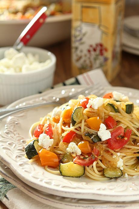 Roasted Vegetable Pasta with Goat Cheese