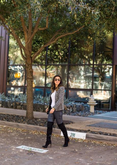 isabel marant etoile striped blazer, linen tee, sam edelman kayla otk boots, how to wear over the knee boots in your 30s
