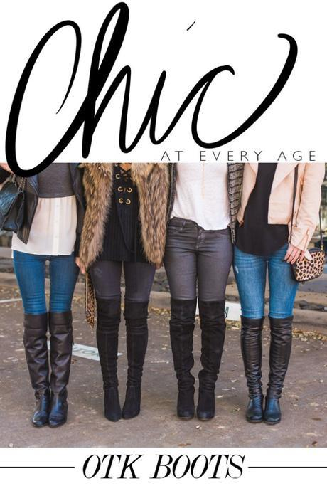 how to wear over the knee boots at any age, with skinny jeans