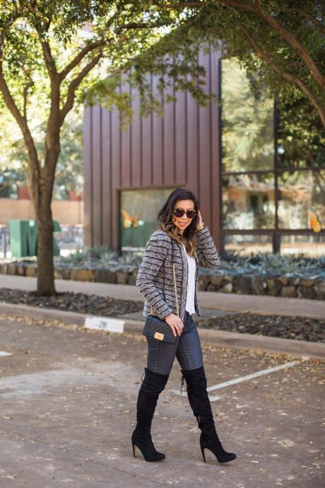 isabel marant etoile striped blazer, chanel boy bag, sam edelman kayla otk boots, how to wear over the knee boots in your 30s