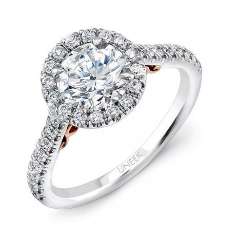 Uneek 14k White & Rose Gold .40ctw Halo Engagement Ring