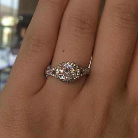 Simon G MR1598 18k White Gold Diamond Engagement Ring