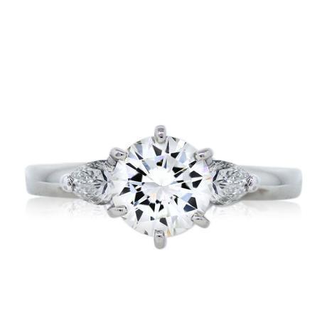 Platinum GIA Certified 0.97ct Round Brilliant Diamond Engagement Ring
