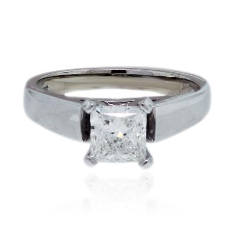 14k White Gold EGL .91ct Princess Cut Diamond Engagement Ring