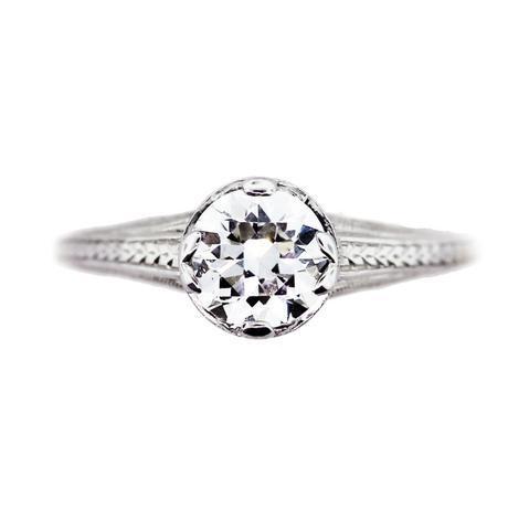Platinum and Diamond Engagement Ring Round Brilliant Cut 1ct