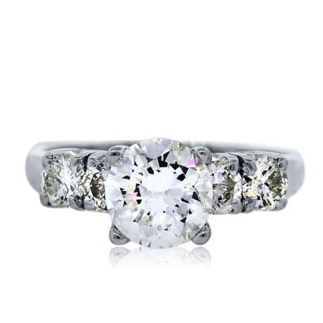 18k White Gold .96 Carat Round Diamond Engagement