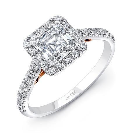 Uneek 14k White & Rose Gold .40ctw Princess Halo Engagement Ring