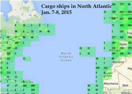 cargo ships in North Atlantic