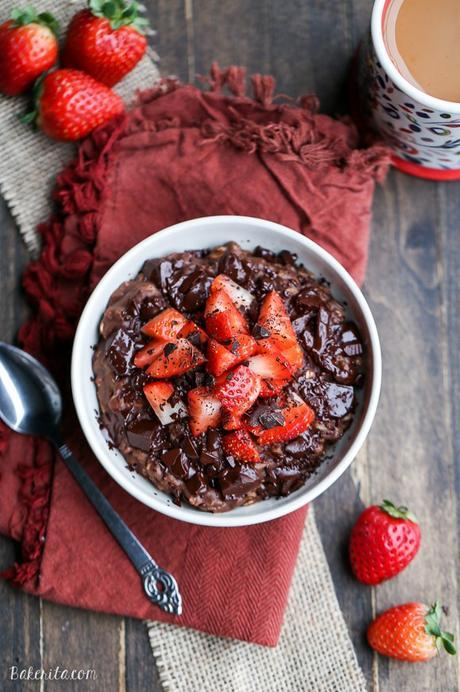 This Chocolate Strawberry Oatmeal tastes like dessert for breakfast! This oatmeal is sweetened with a banana and cocoa powder + chocolate chips make it super chocolatey. It's gluten-free, refined sugar free, and vegan.