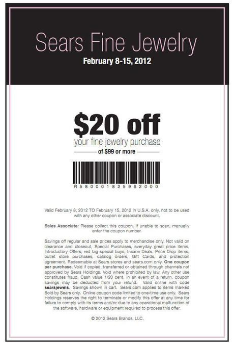 Sears jewelry coupons printable