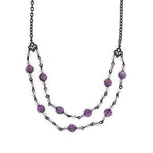 amethyst purple beaded necklace