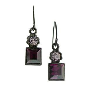 purple square drop earrings