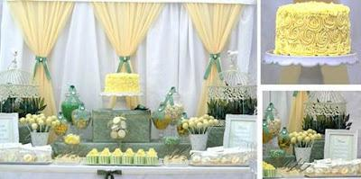 Sage green, lemon and white baby shower