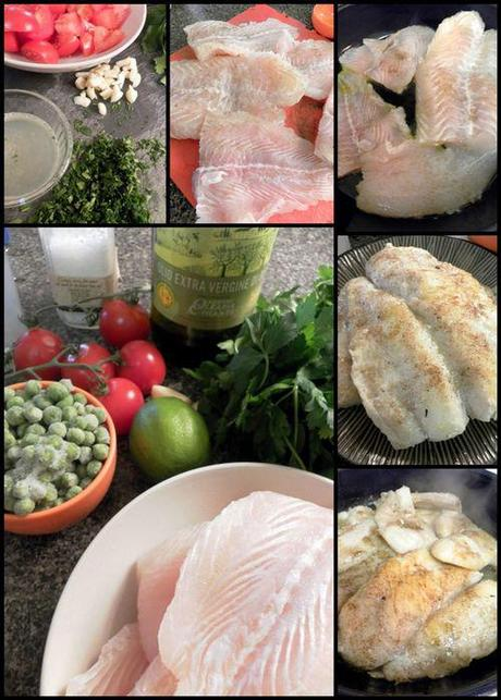 Italian Fish With Peas - Ingredients collage