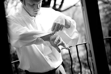 groom in crisp white shirt