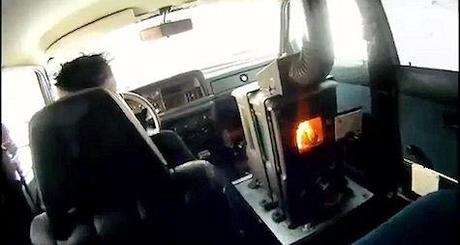 Swiss Man Installs Wood-Burning Stove In Car