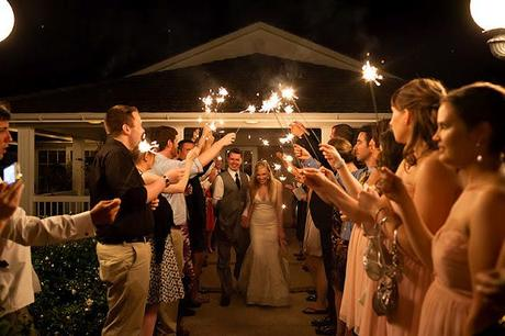 our wedding day sparkler exit