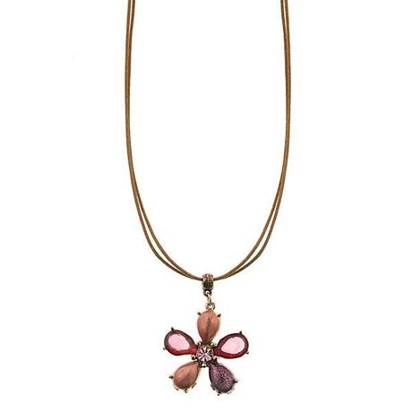 honeysuckle pink flower pendant necklace