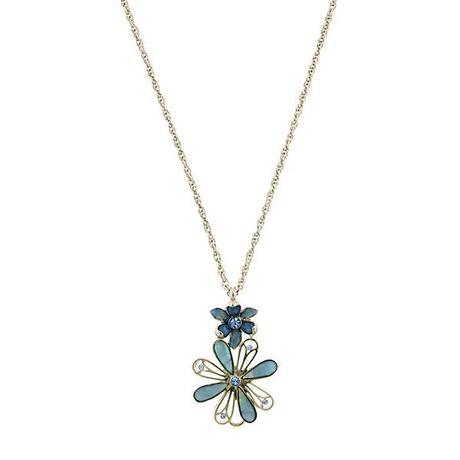 blue fantasia flower pendant necklace