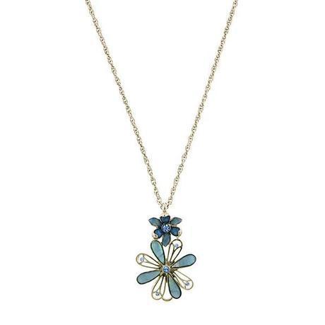 blue fantasia flower pendant necklace