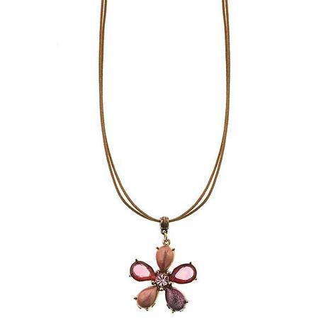 honeysuckle pink flower pendant necklace