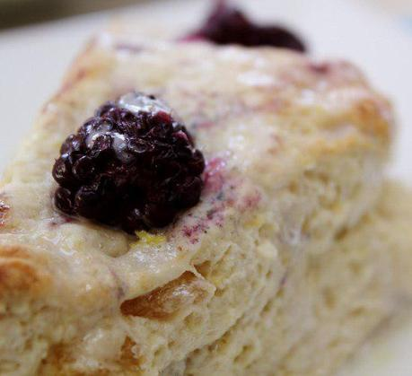 Food: Creamed Blackberry Ginger Lemon Scones.