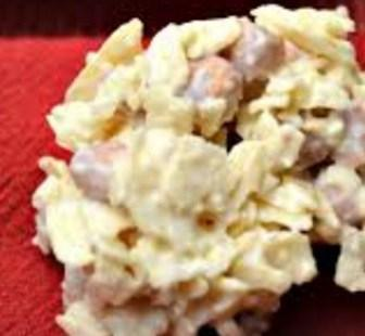 White Chocolate Candy Clusters Made With Pringles