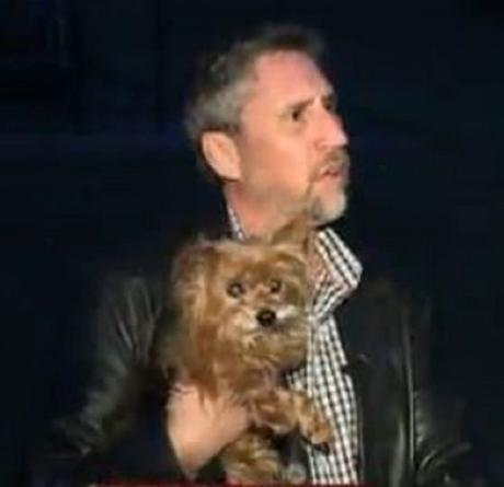 Shane Smith and his dog Baxter are happy!