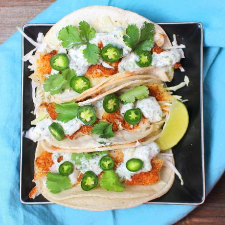 Healthy fish tacos with cilantro lime crema src paperblog for Crema for fish tacos