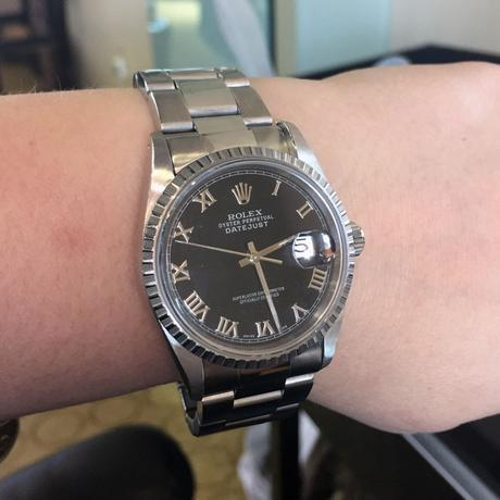 Rolex 16220 Datejust Black Roman Numeral Dial Stainless Steel Watch