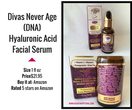 'Divas Never Age' Organic Hyaluronic Acid Facial Serum with Vitamin C & Green Tea Extract (Vegan Friendly)