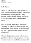 Ally telling the person whose Facebook she hijacked for fat hate how she should react. Including suggesting that telling a fat person that fat people shouldn't exist is just