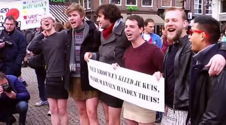 dutchmen in miniskirts protest Muslim sex assaults, Amsterdam, Jan. 16, 2016