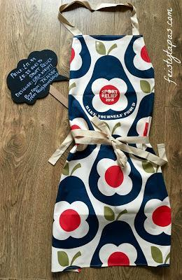 The Orla Kiely apron for The Great Sport Relief Bake Off