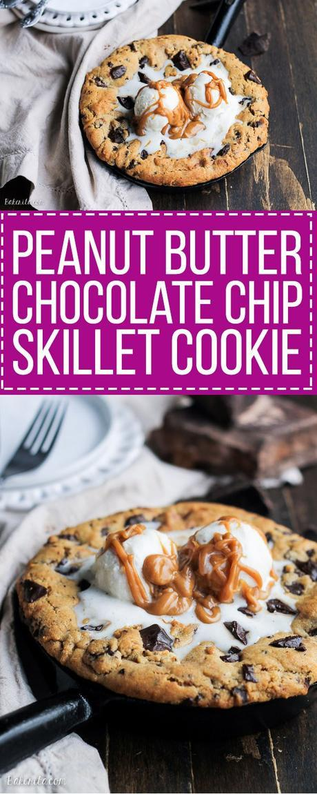 This Peanut Butter Chocolate Chip Skillet Cookie is a peanut butter lover's dream!! The peanut butter cookie stays soft in the center while the edges get crispy, and a layer of peanut butter in the center takes this skillet cookie over the top.