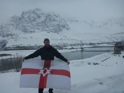 Northern Ireland flag, Afghanistan in behind