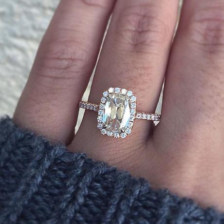 Henri Daussi Cushion Cut Engagement Ring