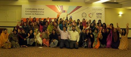 Women entrepreneurs celebrating Global Entrepreneurship Week in Pakistan.