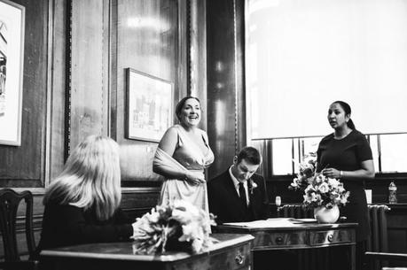 Camden townhall wedding Jokes during signing of the register