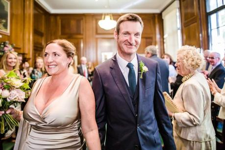 Newly Wed Couple Down the aisle at Camden Hall Wedding