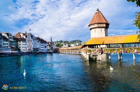 Photo of Kapellbrücke covered bridge on Lake Lucerne.