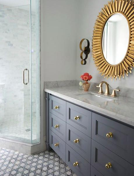 Spray paint old hardware with a shiny, new finish It's amazing what fresh cabinet pulls can do for a small space. For an instant vanity upgrade, remove the hardware, refinish it with a metallic all-surface spray and replace when dry.: