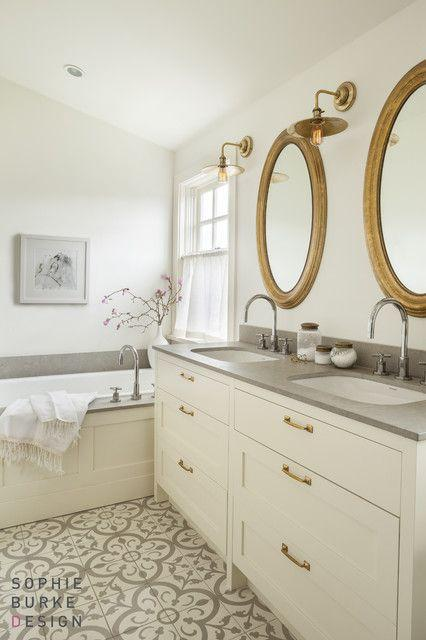 gray, white + gold bathroom - gorgeous tile floor: