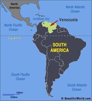 map of Venezuela in South America